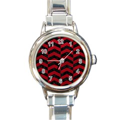 Chevron2 Black Marble & Red Leather Round Italian Charm Watch by trendistuff
