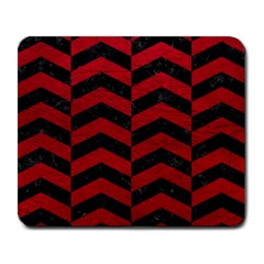 Chevron2 Black Marble & Red Leather Large Mousepads by trendistuff