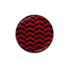 Chevron2 Black Marble & Red Leather Hat Clip Ball Marker by trendistuff