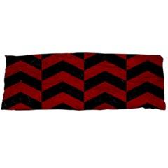 Chevron2 Black Marble & Red Leather Body Pillow Case (dakimakura) by trendistuff