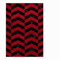 Chevron2 Black Marble & Red Leather Small Garden Flag (two Sides) by trendistuff