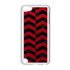 Chevron2 Black Marble & Red Leather Apple Ipod Touch 5 Case (white) by trendistuff