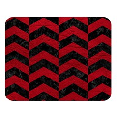 Chevron2 Black Marble & Red Leather Double Sided Flano Blanket (large)  by trendistuff