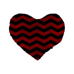 Chevron3 Black Marble & Red Leather Standard 16  Premium Flano Heart Shape Cushions by trendistuff