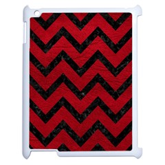 Chevron9 Black Marble & Red Leather Apple Ipad 2 Case (white) by trendistuff