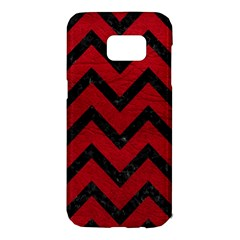 Chevron9 Black Marble & Red Leather Samsung Galaxy S7 Edge Hardshell Case by trendistuff