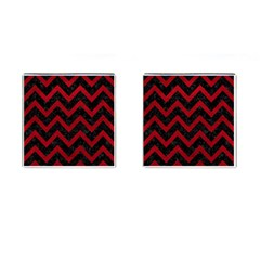 Chevron9 Black Marble & Red Leather (r) Cufflinks (square) by trendistuff