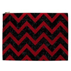 Chevron9 Black Marble & Red Leather (r) Cosmetic Bag (xxl)