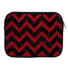 Chevron9 Black Marble & Red Leather (r) Apple Ipad 2/3/4 Zipper Cases