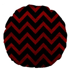 Chevron9 Black Marble & Red Leather (r) Large 18  Premium Flano Round Cushions by trendistuff