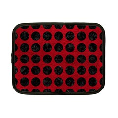 Circles1 Black Marble & Red Leather Netbook Case (small)  by trendistuff