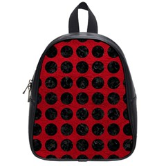 Circles1 Black Marble & Red Leather School Bag (small) by trendistuff