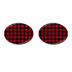 Circles1 Black Marble & Red Leather (r) Cufflinks (oval) by trendistuff