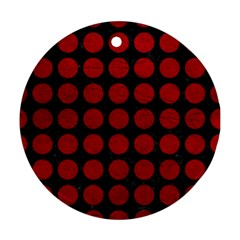 Circles1 Black Marble & Red Leather (r) Round Ornament (two Sides) by trendistuff