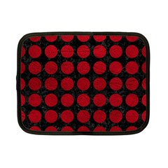 Circles1 Black Marble & Red Leather (r) Netbook Case (small)  by trendistuff