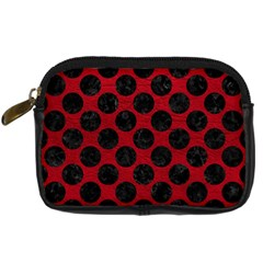 Circles2 Black Marble & Red Leather Digital Camera Cases by trendistuff