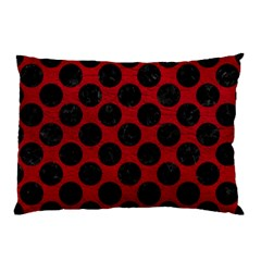 Circles2 Black Marble & Red Leather Pillow Case (two Sides) by trendistuff