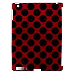Circles2 Black Marble & Red Leather Apple Ipad 3/4 Hardshell Case (compatible With Smart Cover) by trendistuff