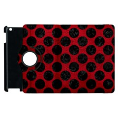 Circles2 Black Marble & Red Leather Apple Ipad 2 Flip 360 Case by trendistuff