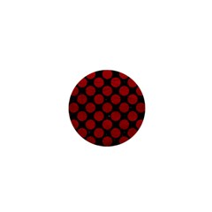 Circles2 Black Marble & Red Leather (r) 1  Mini Buttons by trendistuff
