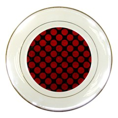 Circles2 Black Marble & Red Leather (r) Porcelain Plates by trendistuff