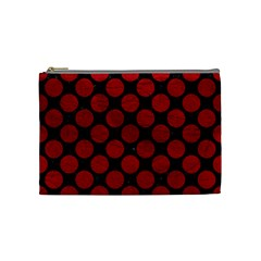 Circles2 Black Marble & Red Leather (r) Cosmetic Bag (medium)  by trendistuff