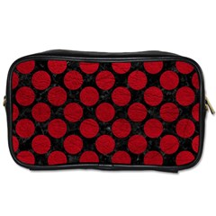 Circles2 Black Marble & Red Leather (r) Toiletries Bags by trendistuff