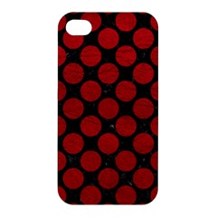 Circles2 Black Marble & Red Leather (r) Apple Iphone 4/4s Premium Hardshell Case by trendistuff