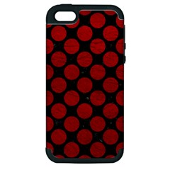 Circles2 Black Marble & Red Leather (r) Apple Iphone 5 Hardshell Case (pc+silicone) by trendistuff