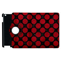 Circles2 Black Marble & Red Leather (r) Apple Ipad 2 Flip 360 Case by trendistuff