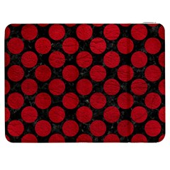 Circles2 Black Marble & Red Leather (r) Samsung Galaxy Tab 7  P1000 Flip Case