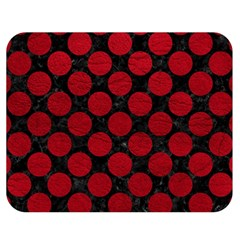 Circles2 Black Marble & Red Leather (r) Double Sided Flano Blanket (medium)  by trendistuff