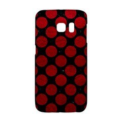 Circles2 Black Marble & Red Leather (r) Galaxy S6 Edge by trendistuff