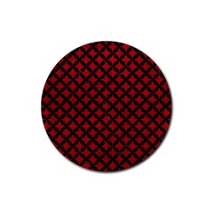 Circles3 Black Marble & Red Leather Rubber Round Coaster (4 Pack)  by trendistuff