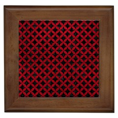 Circles3 Black Marble & Red Leather (r) Framed Tiles by trendistuff