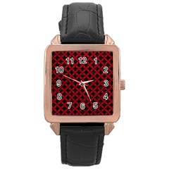 Circles3 Black Marble & Red Leather (r) Rose Gold Leather Watch  by trendistuff