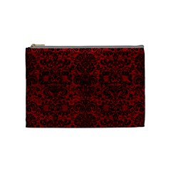 Damask2 Black Marble & Red Leather Cosmetic Bag (medium)  by trendistuff