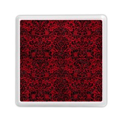 Damask2 Black Marble & Red Leather Memory Card Reader (square)  by trendistuff