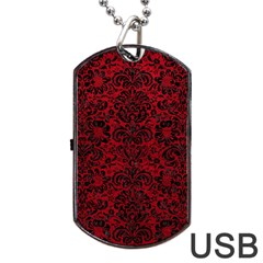Damask2 Black Marble & Red Leather Dog Tag Usb Flash (two Sides) by trendistuff