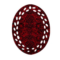 Damask2 Black Marble & Red Leather Oval Filigree Ornament (two Sides) by trendistuff