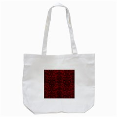 Damask2 Black Marble & Red Leather Tote Bag (white) by trendistuff