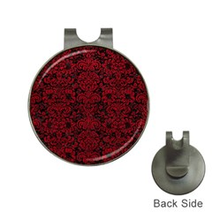 Damask2 Black Marble & Red Leather (r) Hat Clips With Golf Markers by trendistuff