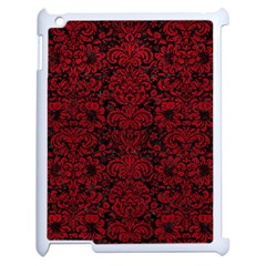 Damask2 Black Marble & Red Leather (r) Apple Ipad 2 Case (white) by trendistuff
