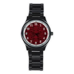 Damask2 Black Marble & Red Leather (r) Stainless Steel Round Watch by trendistuff