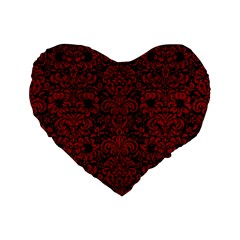 Damask2 Black Marble & Red Leather (r) Standard 16  Premium Flano Heart Shape Cushions by trendistuff