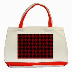 Houndstooth1 Black Marble & Red Leather Classic Tote Bag (red) by trendistuff