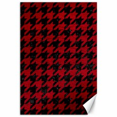 Houndstooth1 Black Marble & Red Leather Canvas 12  X 18   by trendistuff