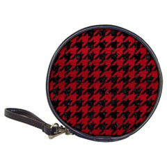 Houndstooth1 Black Marble & Red Leather Classic 20 Cd Wallets by trendistuff