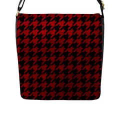 Houndstooth1 Black Marble & Red Leather Flap Messenger Bag (l)  by trendistuff