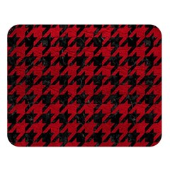 Houndstooth1 Black Marble & Red Leather Double Sided Flano Blanket (large)  by trendistuff